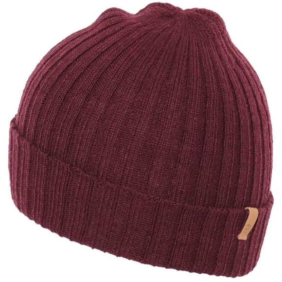 6be405e5ba6 Fjallraven Byron Thin Wool Burgundy Winter Hat!